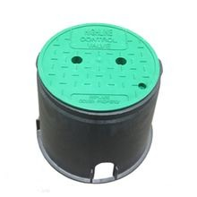 "10"" Round Irrigation Turf Box With Green ""Control Valve"" T-Top Lid"