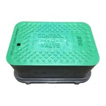 "6"" Black Standard Irrigation Turf Box Extension With Green ""Control Valve"" T-Top Lid, No Lock"