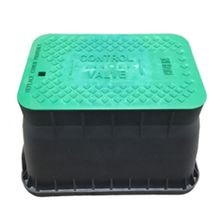 "12"" Black, Standard Irrigation Turf Box With Green ""Control Valve"" T-Top Lid, No Lock"