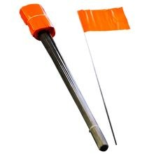 "Blackburn - Orange Marking Flag, 4"" x 5"" with 21"" Wire Staff, Pack of 100"