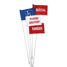 Standard Golf - Cart ID Flag  - Players Assistant - White with Red Letters