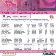 Reinders - Short Prairie Wildflower & Grass Mix - 1 LB Bag