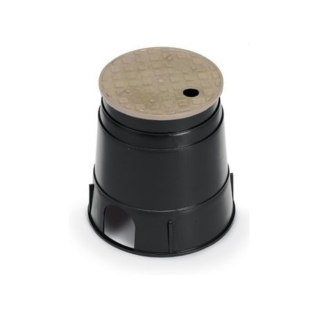 "Rain Brid - 6"" Round PVB Valve Box - Black Body with Tan Lid"