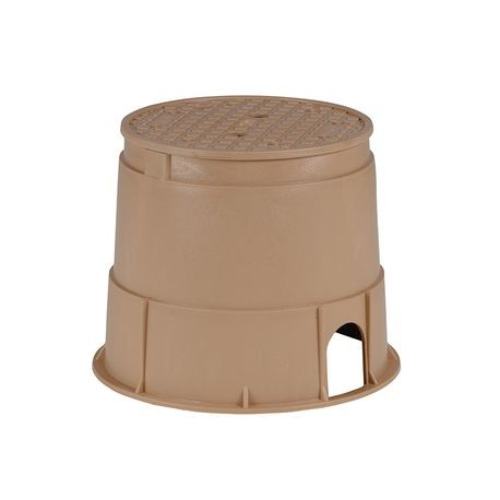 "Rain Bird - 10"" Round PVB Valve Box - Tan Body with Tan Lid"