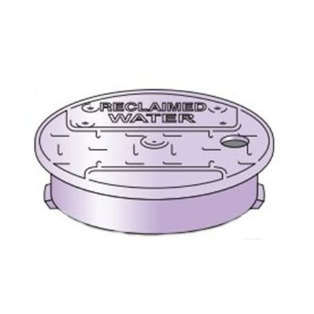 "10"" Round Purple ""Reclaimed Water"" Irrigation Turf box Lid"