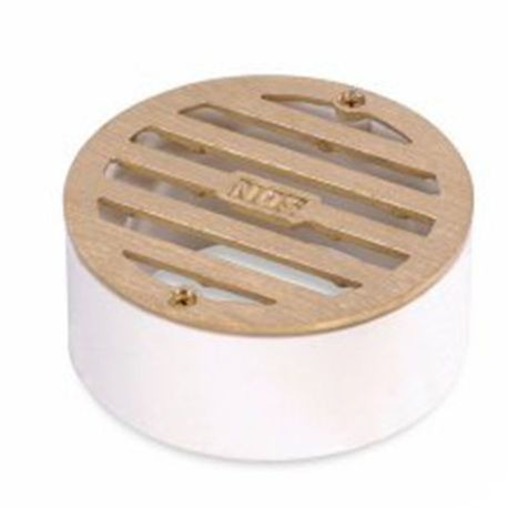 "NDS - 6"" Satin Brass Round Brass Grate with Styrene Adapter"
