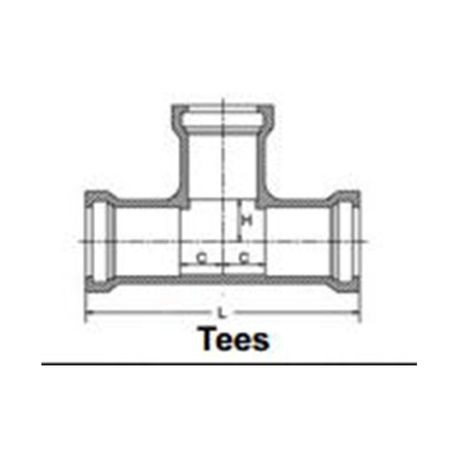 "The Harrington Corporation - 2-1/2"" X 2"" Gasketed Tee"