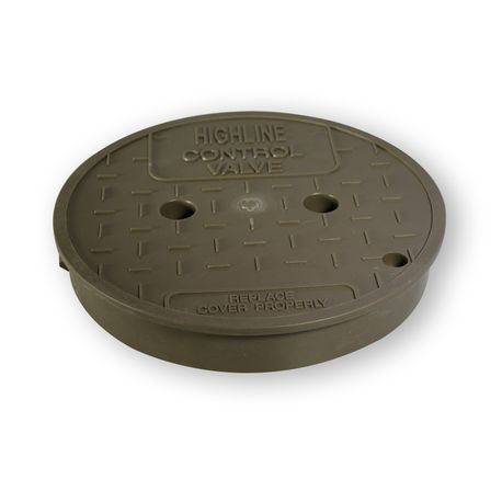 "10"" Round Brown Mulch ""Control Valve"" T-Top Lid"