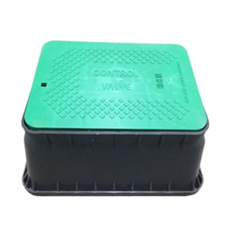 "Jumbo Black Irrigation Turf Box, Closed Mouse Holes, with Green ""Control Valve"" Snap Lock Lid"