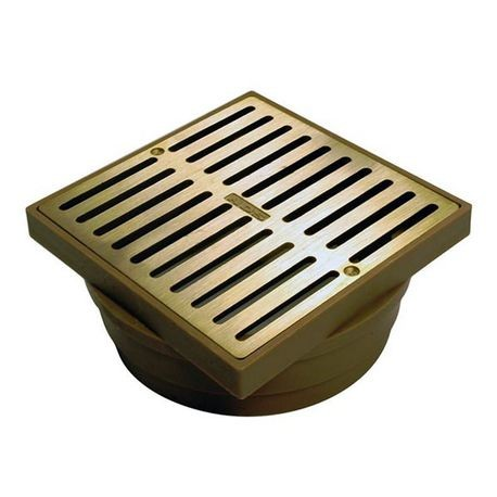 "NDS - 6"" Satin Brass Square Brass Grate with Styrene Adapter"