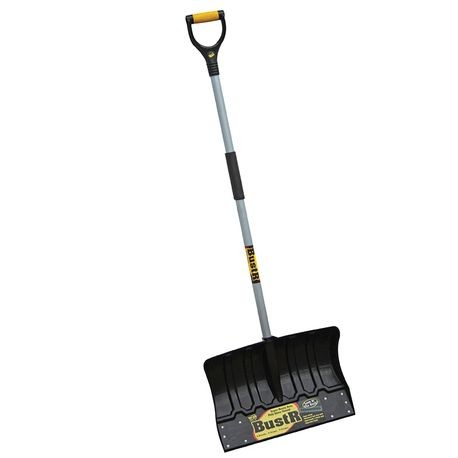 "YO-HO - 18"" Heavy Duty Poly Snow Shovel w/ extra-large wear strip, 42"" Steel Handle, Cushion Grip"