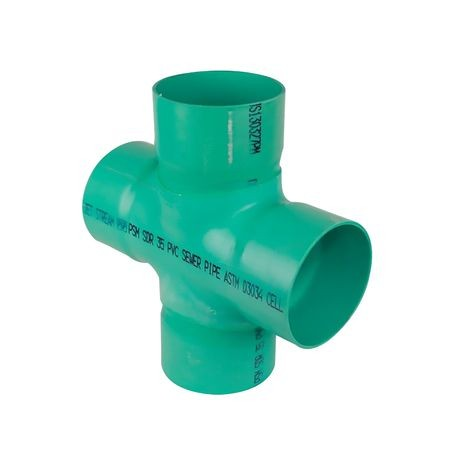 "Multi Fittings - 4"" PVC Sewer Cross Slip X Slip X Slip"