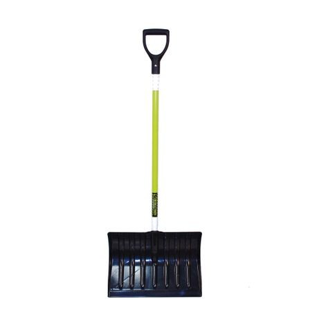 "Structron - Safety Snow Shovel, 18"" 50/50 Polycarbonate & ABS Blend Blade, no wear strip, 44"" Fiberglass Handle, Poly D-grip"