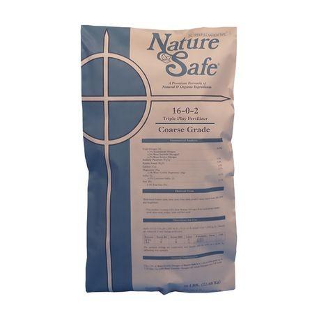Nature Safe 16 0 2 Coarse Grade Triple Play Fertilizer Sgn 220 230 50 Lb Bag Reinders