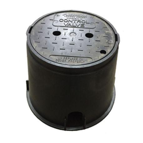 "10"" Round Irrigation Turf Box With Black ""Control Valve"" Lid"